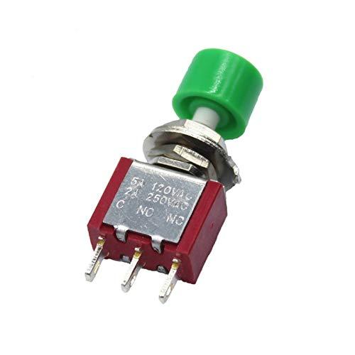 Interruptores de Palanca 1Pcs 3 Pines C-NO-NC 6mm Mini momentáneo automático Interruptor de botón de Retorno de Empuje ON- (ON) 2A 250VAC / interruptores 5A 120VAC Toggle (Color : Green)