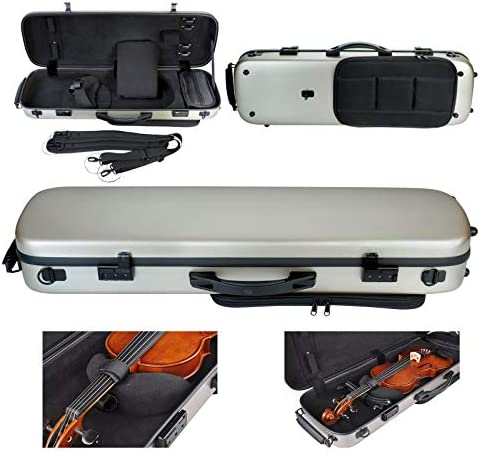 ADM Professional Sturdy Violin Case 4 4 Full Size Oblong Deluxe Adjustable Acoustic Violin Case product image