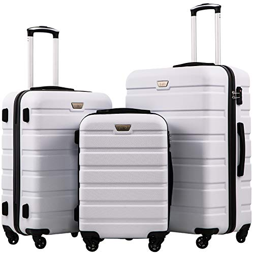 COOLIFE Suitcase Trolley Carry On Hand Cabin Luggage Hard Shell Travel Bag Lightweight 2 Year Warranty Durable 4 Spinner Wheels (White, 3 Pcs Set)