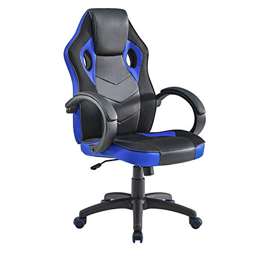Mr IRONSTONE Gaming Chair Office Executive Computer Ergonomic Video Game Chair with Backrest Armrest Height Adjustable Swivel Comfortable Seat PC Esports Racing Chair (Black+Blue)
