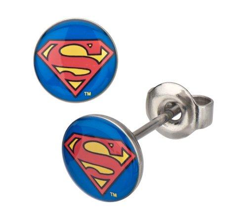 DC Comics Superman Classic Shield Logo Stud Pendientes