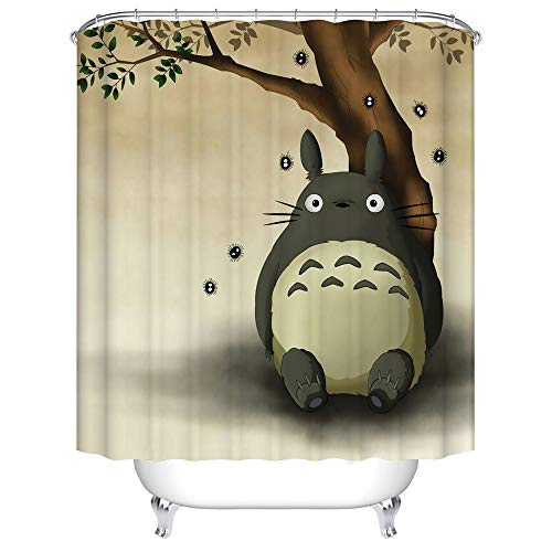 BARTORI Home Decor Shower Curtain Hooks Inside My Neighbor Totoro Theme A Very Cute Totoro site Under The Tree with Brown Background Waterproof Polyester Fabric Bath Curtain with Size 71''X71''