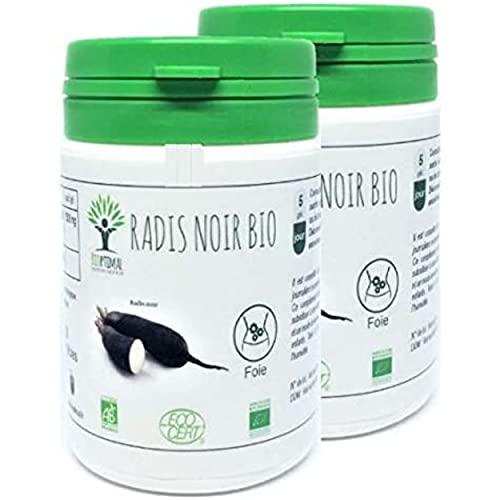 Radis Noir Bio - Bioptimal - Complément Alimentaire - Dépuratif Naturel Détox Foie Digestion - 100% Pur - Élimine les toxines - 300 mg/Gélule - Fabriqué en France - Certifié Ecocert - 2 x 60 gélules