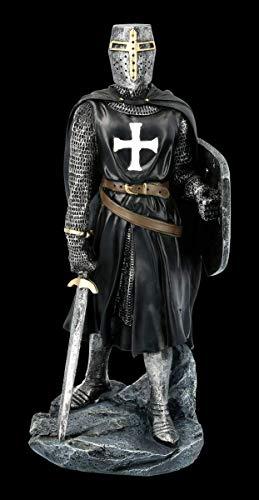 Schwarze Tempelritter Figur mit Schild und Schwert | Templer, Deko-Figur, Deko-Artikel, Statue, Skulptur, Mittelalter-Figur, H 30 cm