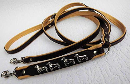 Lusy011 *DACKEL* HUNDELEINE - Leine - 220cm/13mm, Echt Leder Braun-Beige, 3xVerstellbar 1168