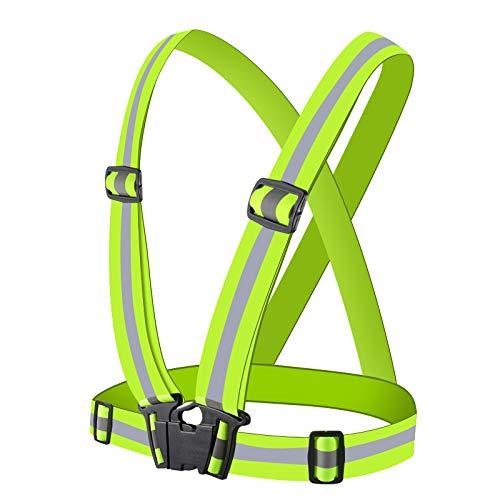 Brthspob Chaleco Reflectante de Seguridad, Chaleco de Seguridad Ajustable de Alta Visibilidad, Adecuado para Correr, Caminar, Andar en Bicicleta y Deportes al Aire Libre (Verde) (1 Pieza)