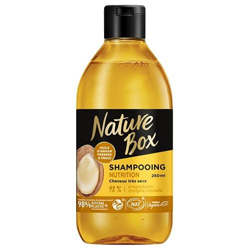 Nature Box - Shampooing Nutrition Argan - Cheveux très secs - Formule Vegan - 98 % d'ingrédients d'origine naturelle - Contenant de 250 ml