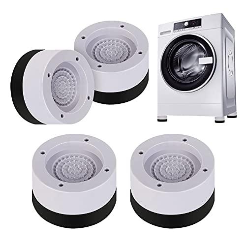 Redmoo 4pcs Amortiguador de Vibraciones para Lavadoras, lavadora con amortiguador de vibraciones, pies de lavadora antivibración, Soporte Lavadora Secadora, Muebles Lavadora, reducir ruido y v