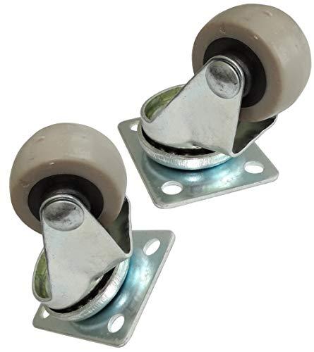 Aerzetix C42233 2 rollen voor meubels, draaibaar, diameter 30 mm, breedte 15 mm, hoogte 50 mm, 15 kg, montageplaat 36 x 46 mm