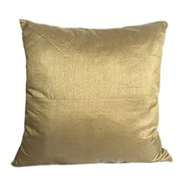 Set of 2 Gold Art Silk Pillow Covers, Plain Silk Cushion Cover, Solid Color Gold Throw Pillow, (18x18 inches, Gold)