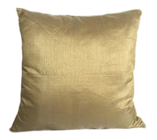 Set of 2 Gold Art Silk Pillow Covers, Plain Silk Cushion Cover, Solid Color Gold Throw Pillow, (20x20 inches, Gold)