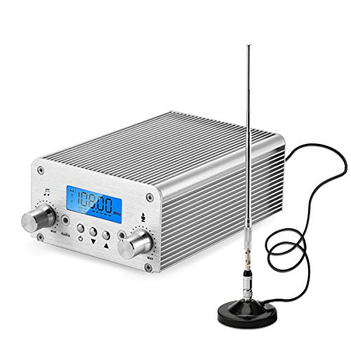 15W/7W FM Transmitter,Fm Transmitter for Church,Fm Broadcast Transmitter, 87~108MHz FM Radio Transmitter High-Fidelity Audio FM Transmitter, Transmission Distance of 1000M in Open Place (Silver 15W)