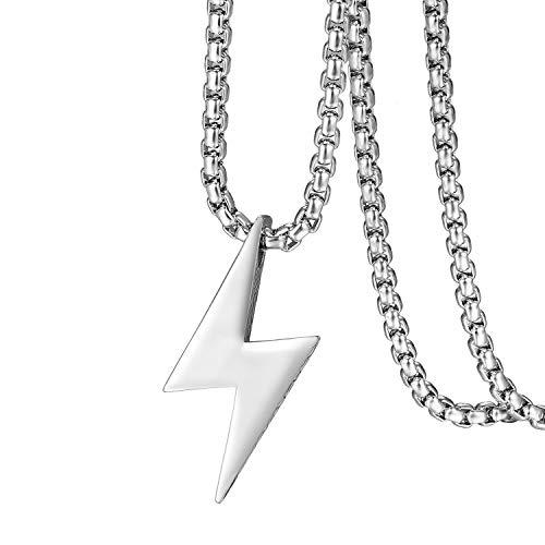 Flongo Herren-Kette Männer Anhänger Halskette, Edelstahl Halskette Kette Silber Blitz Lightning Gotik Biker Herren-Accessoires