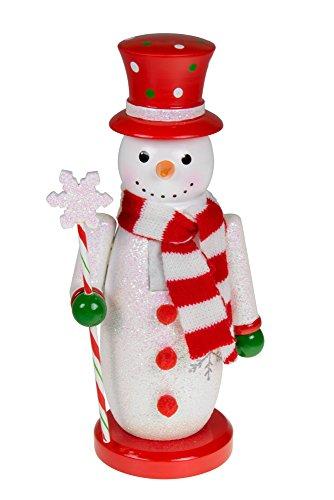 Clever Creations - Cascanueces Tradicional de Navidad - Ideal para mesas y estanterías - Madera - Muñeco de Nieve...