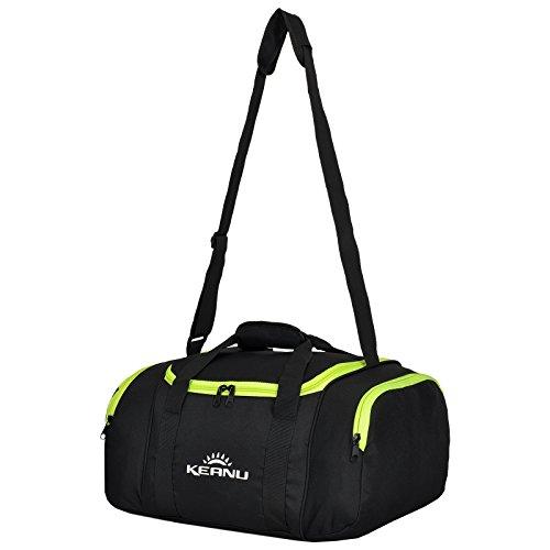 KEANU Praktische Sporttasche 43 Liter :: faltbar, Wäschefach, Wertfach Fitness Yoga Sauna :: Grosse multifunktionale Tasche für Gym Sport Reise Wellness :: Reisetasche Small (Neon Grün)