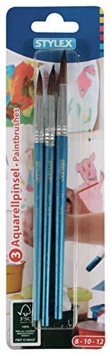 Stylex Juego de 3 Pinceles tamaños Pintar, acrílico y Acuarela, Ideal también para la Escuela, multicolor, 8, 10 und 12