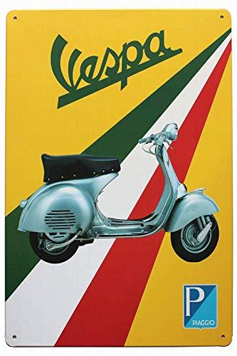 HALEY GAINES Vespa Electric Cars Métal Mur Affiche Vintage Étain Mural Signe Décorative Métallique Panneau Rétro Plaque pour Bar Cafés Cuisines Maison