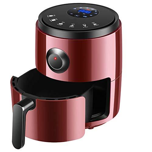 Air fryer, Freidora sin aceite Temporizador de control de temperatura ajustable de 3 L Tecnología de circulación de aire saludable para cocinar con poca grasa,Rojo