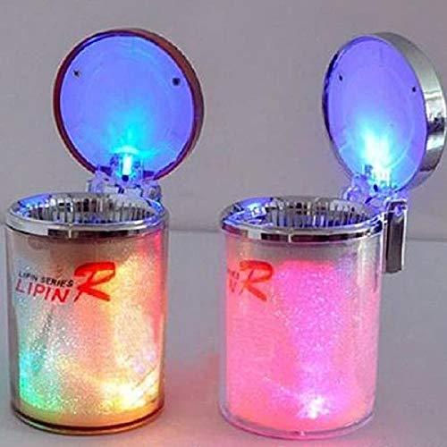 Asbak compliant plastic LED draagbare creatieve gekleurde LED-lamp, multifunctionele auto asbak met deksel