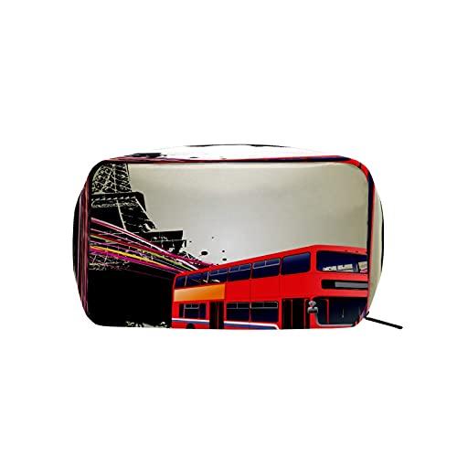 Bolsa de cosméticos para mujeres y niñas Trave bolsa de maquillaje neceser bolsa accesorios organizador tren rojo con Paris Eiffer Tower