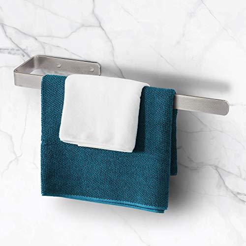 TradeNX - Portasciugamani senza Foratura, Supporto Adesivo per Asciugamani da Bagno e Cucina, Montaggio Flessibile senza Fori o Avvitabile, Acciaio Inox, Colore Argento