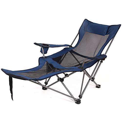 TQJ Silla Plegable Playa Al Aire Libre Salón Plegable Silla con Posavasos Compacto Portátil Ajustable Respaldo Pescar Asiento, 2 Colores Sillal Plegable Camping (Color : Blue)