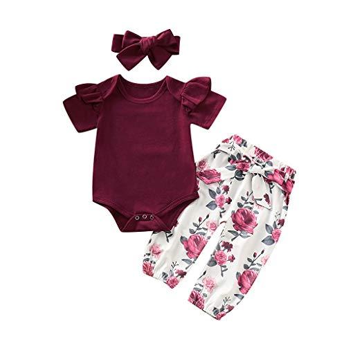 YEBIRAL Babykleidung Set Baby Mädchen Kleidung Kurzarm Body Strampler + Hose + Stirnband Neugeborene Kleinkinder Baumwolle Outfits Set 3 Stück (Weinrot 04, 0-6 Monate)