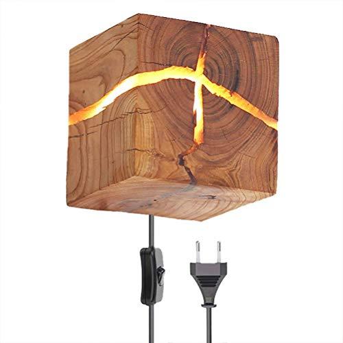 Lámpara de pared vintage madera con Enchufe interruptor Aplique de Pared de Grieta de madera lámpara de noche interior iluminación interior para dormitorio sala de estar comedor pasillo escalera