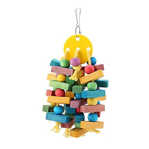 AYNEFY Juguete Colgante de Madera, Parrot Toy Bird Toys Hanging Toy de Madera Colorido Mascotas Columpio Cage Bite Swing Adecuado para Loros y Pájaros