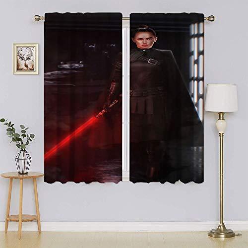 lacencn Juego de cortinas para el hogar de Star Wars con bloqueo de luz completa para mantener el calor, cortinas para ventanas para dormitorio (76 x 45 cm)
