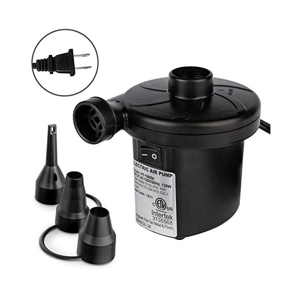 Electric Air Pump, Portable Air Pump Fast Inflatable Deflated, 3 Nozzles, AC110/120V...