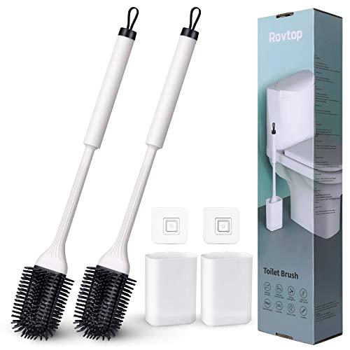 Rovtop Toilettenbürste Silikon 2 Stück, Zungenförmige Toilettenbürste, WC Bürste mit Halterung und Nagelfreiem Aufkleber an Wand,Geeignet für Bad und WC