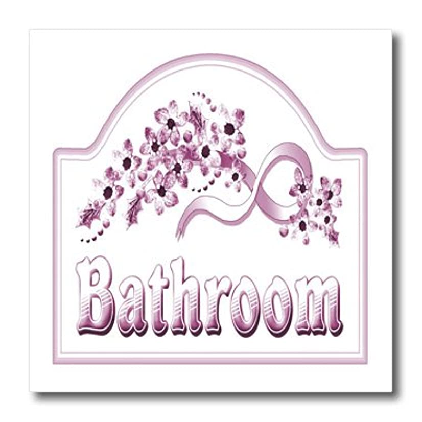3dRose ht_60565_1 Victorian Pink Bathroom Sign Iron on Heat Transfer for White Material, 8 by 8-Inch