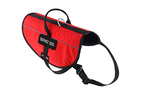 Petdogree Lightweight Reflective Red Service Dog Vest / Harness with Handle and Removable Patches (Multiple Sizes)..