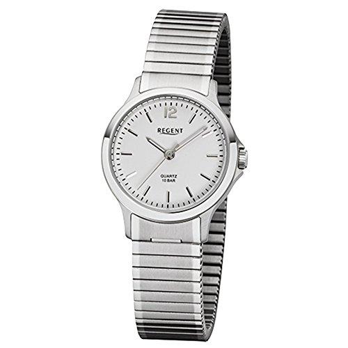 Regent Damen-Armbanduhr Elegant Analog Edelstahl-Armband silber Quarz-Uhr Ziffernblatt silber weiß URF1018