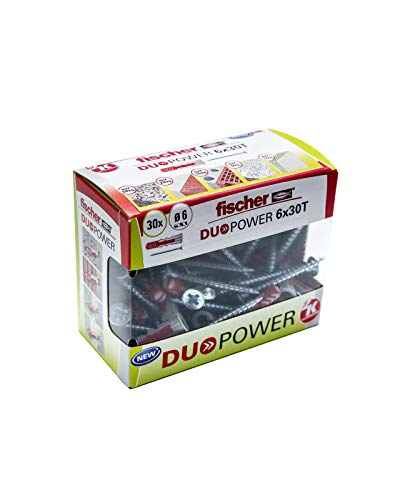 Fischer Taco DuoPower T (Caja Tacos + 30 Tornillos), 536390, Gris+rojo, 6x30 S