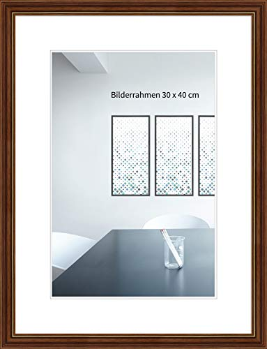 WANDStyle Bilderrahmen ANTIK 21x30cm DIN A4 I Farbe: Braun mit Goldkante I Holzbilderrahmen I Bilderrahmen Barock braun I Made in Germany I H182