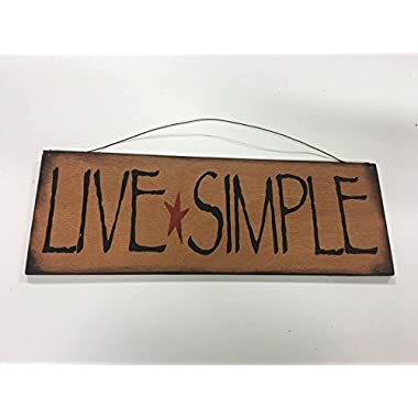 Sign decor Live Simple barn star country home decor wooden wall art