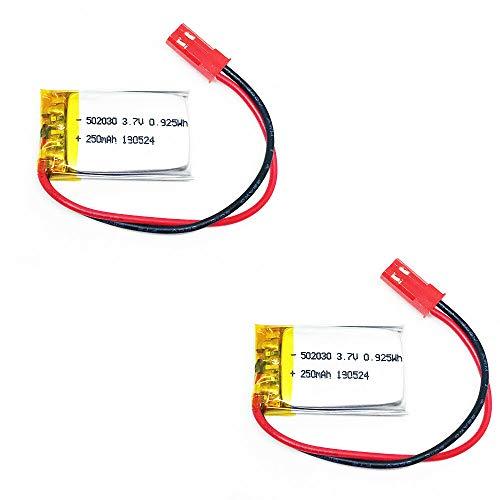 2X Lipo Akku 250mAh 1s 3,7V JST Stecker Empfänger Sender Drohne RC Quadrocopter 502030 kabellos wiederaufladbar Bluetooth Headset Schlüsselanhänger Cam Uhr Video Baby Monitore etc.