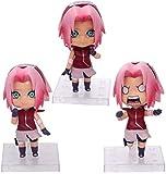 wxxsjfj Figuras de acción Muñeca Nendoroid 3 Piezas/Set Sakura Haruno Q Ensamblado Ver. Figura de acción de PVC móvil Modelo de colección Agradable Aprox. 10 centímetros