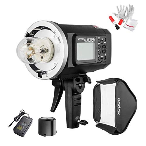 Godox AD600BM Bowens Mount 600Ws GN87 HSS Outdoor Flash Strobe Light with 2.4G Wireless X System, 8700mAh Battery to Provide 500 Full Power Flashes Recycle in 0.01-2.5 Second, W/80cmX80cm Softbox