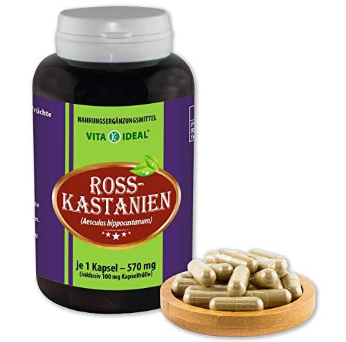 VITA IDEAL ® Rosskastanien (aesculus hippocastanum) 180 Kapseln je 570mg, aus rein natürlichen Kräutern, ohne Zusatzstoffe