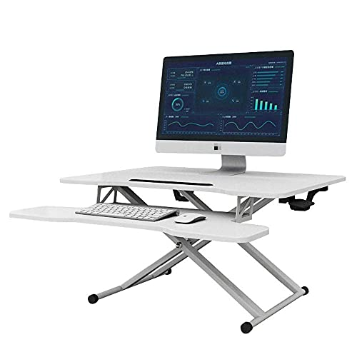 CHHD Escritorio de pie Ajustable en Altura Escritorio de pie para Sentarse y Ponerse de pie Mesa de Trabajo Mesa ergonómica (Color: Blanco tamaño: Talla única)