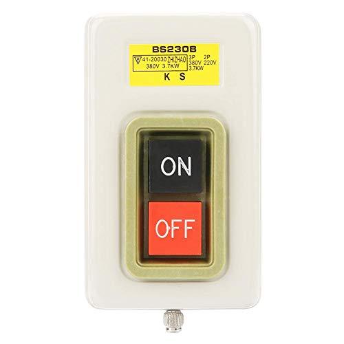 Interruptor de Botón Pulsador BS230B Interruptor de Encendido Con Botón Pulsador 3 Fases Encendido/Apagado Simple Inicio Parada Autoblocante Estación de Control de Equipos Mecánicos