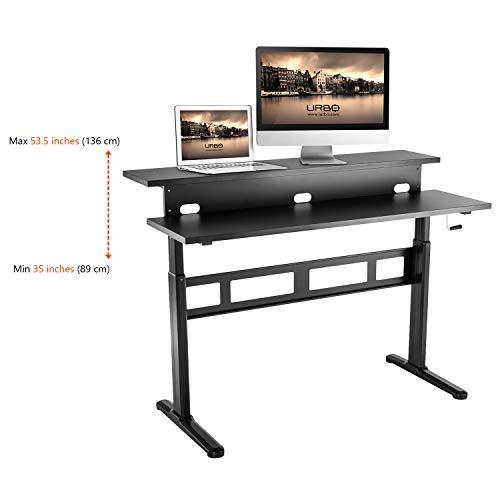 Urbo ergonomisch stabureau met twee bureaubladen - in hoogte verstelbaar - diepte: 69 cm (27.2 inch) - breedte 140 cm (55 inch)