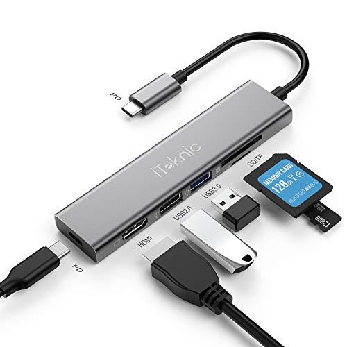 iTeknic Hub USB 6 in 1 USB Type C Hub Alimentato con Porta HDMI 4K, USB C Power Delivery, Lettore Schede SD/TF, Porte USB 3.0 2.0 per MacBook PRO, MacBook Air, iPad PRO, Huawei MateBook e Altro