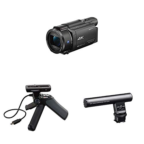 Sony FDRAX53/B 4K HD Video Recording Camcorder (Black) with ECMGZ1M microphone and GPVPT1 Grip & Tripod for Camcorders (Black)