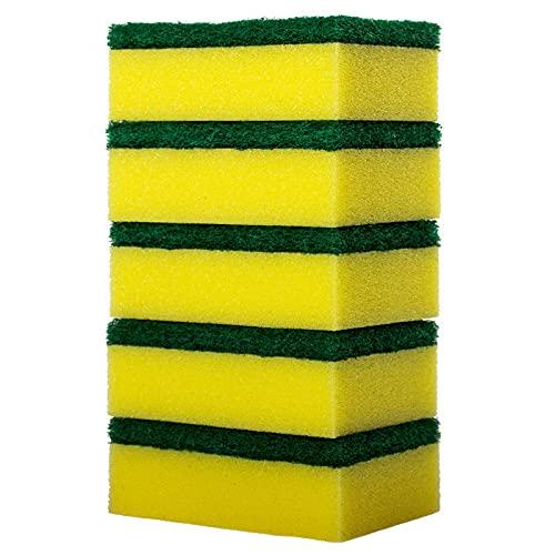 GUBO Esponjas de Limpieza Pesada, 5 esponjas de friegues, se colocan hasta la Suciedad atascada Adecuada para Lavar los Platos en la Cocina-Huang Mian 5 Tablets