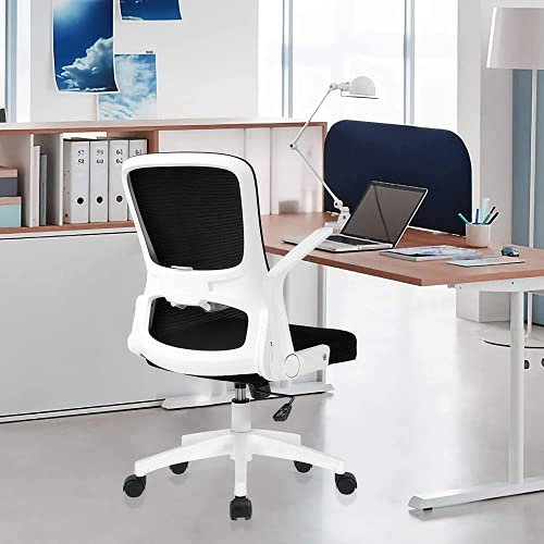 RANHOME White Home Office Chair- Height Adjustable Modern Ergonomic Desk Chair,Comfortable Computer Swivel Mesh Office Chair with Lumbar Support and Flip-up Arms