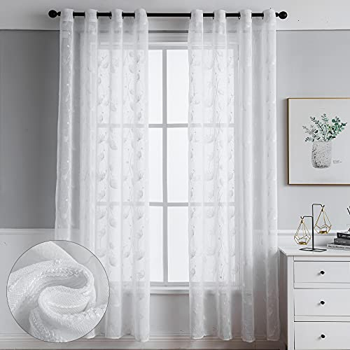 Sheer Curtains Natural Linen Semi Sheer Length Long Window Curtains 2 PCS Grommet Semi Sheer Window Curtain for Living Dining Kitchen Cafe Children Room Bedroom Sliding Door (52 X 84 inch, White-B)